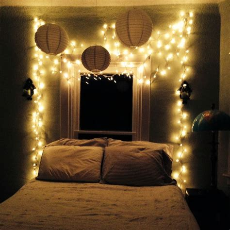 decorating bedroom with white christmas lights