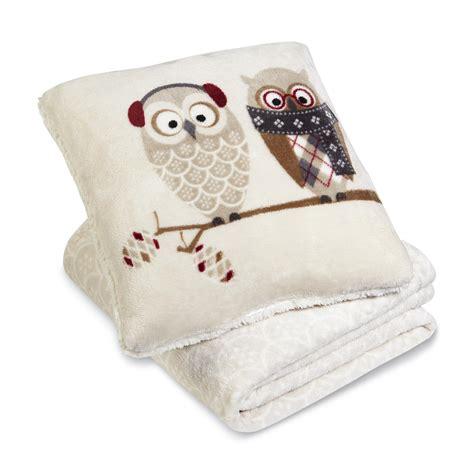 cannon microfleece pillow throw owls home bed