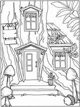 Fun Coloring Pages Treehouse Boomhutten Tree sketch template