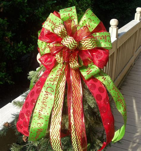 christmas tree toppers bows double christmas bow toppers red and lime christmas tree
