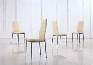 Chaise Salle A Manger Cuir : lot de 6 chaises beige en simili cuir ~ Teatrodelosmanantiales.com Idées de Décoration