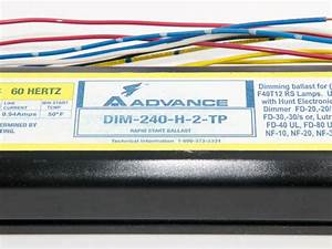 Philips Advance 120 Volt Two Lamp F40t12 Magnetic Dimming Ballast