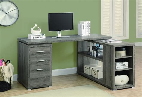 desk l with outlet and organizer corner l shaped office desk with storage in dark taupe