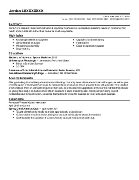 1 fitness and personal resume exles in east