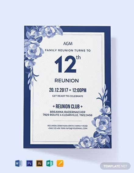 family reunion invitation template word  psd