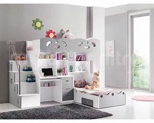 Lit Mezzanine Bureau Enfant : lit mezzanine avec bureau pour fille ~ Teatrodelosmanantiales.com Idées de Décoration
