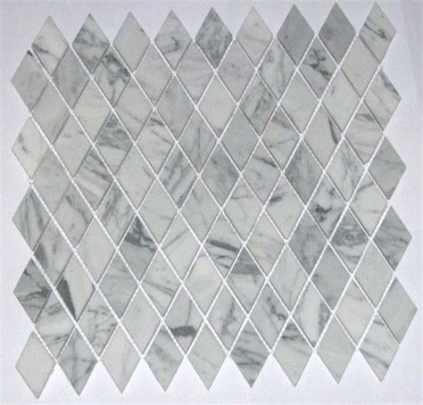 Italian White Carrara Marble Polished Diamond Shape Mosaic