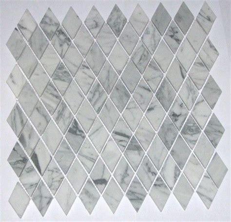 Italian White Carrara Marble Polished Diamond Shape Mosaic