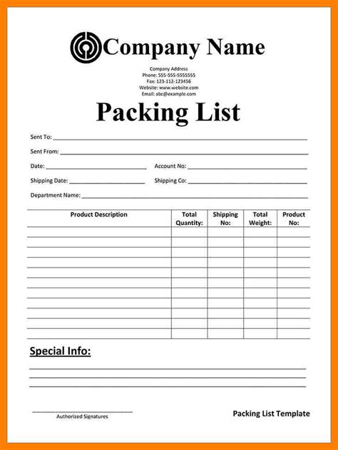 packing list sample form 7 packing list form protect letters