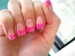New nail sparkly with pink French tips | nails | Pinterest ...