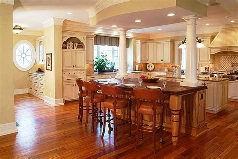 Kitchen Island with columns and double island   Kitchen