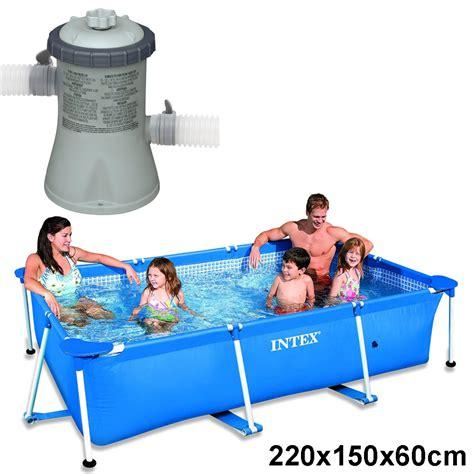 rechteck pool komplettset intex schwimmbecken komplett set family swimming pool rechteck frame poolpumpe ebay