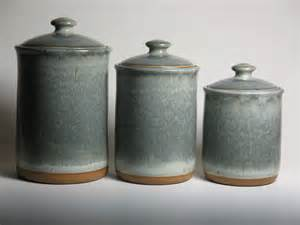 ceramic kitchen canister pottery canister set in grey blue