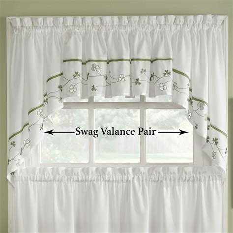 clover swag valance pair white 58 x 30 touch of class