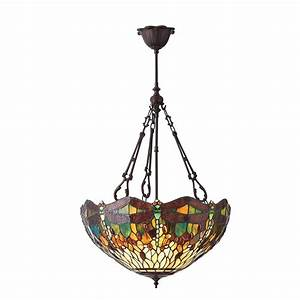 Interiors green dragonfly large light tiffany style