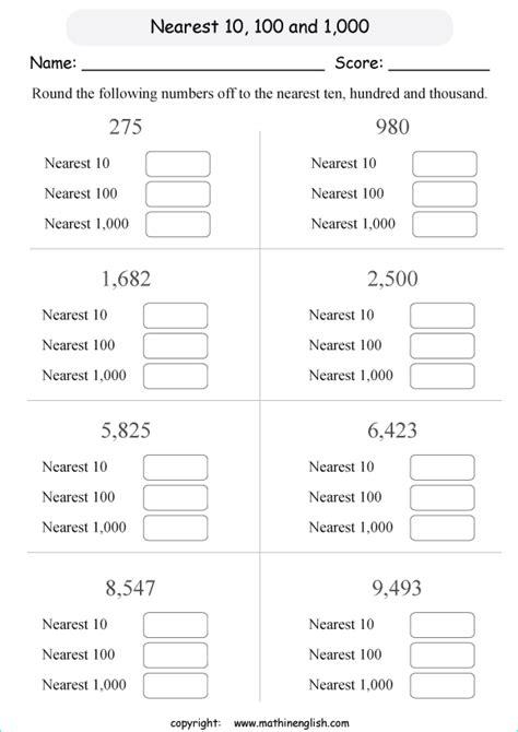 rounding       printable grade  math