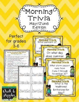 Morning Trivia  May & June Edition By Chalk And Apples Tpt