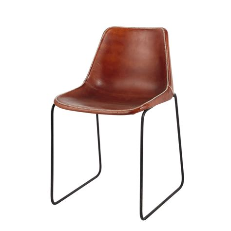 chaises eams leather and metal industrial chair in camel waterloo