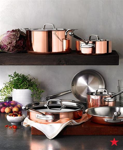 pure copper exterior   martha stewart collection tri ply copper cookware set