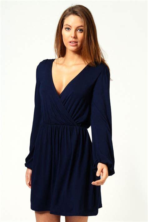 Boohoo Womens Ladies Adriana Jersey Long Sleeve Wrap Dress ...