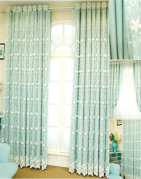 Light Green Drapes - light green lace sheer curtain with solid curtain