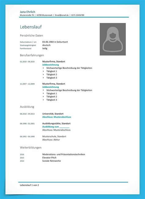 Muster Für Lebenslauf by Kostenlose Lebenslauf Muster Und Vorlagen F 252 R Deine