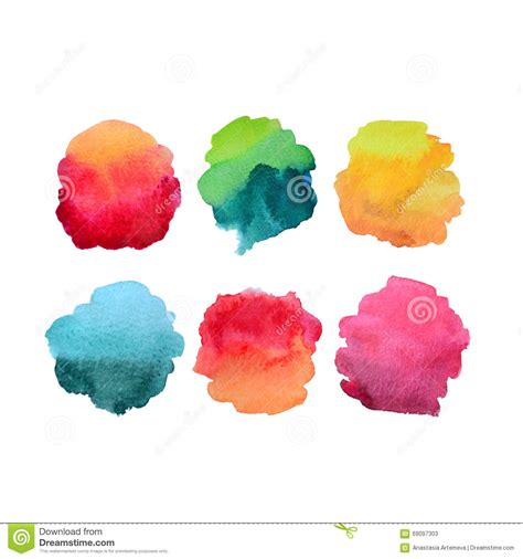 Abstract Shapes Watercolor by Six Abstract Watercolor Fill Shapes Stock Illustration
