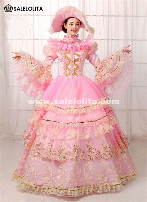 pink floral lace muliti layer party dress southern belle ball gown marie antoinette dress