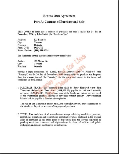 Rent To Buy Contract Template by Contractor Agreement Template Canada Rent To Own Agreement