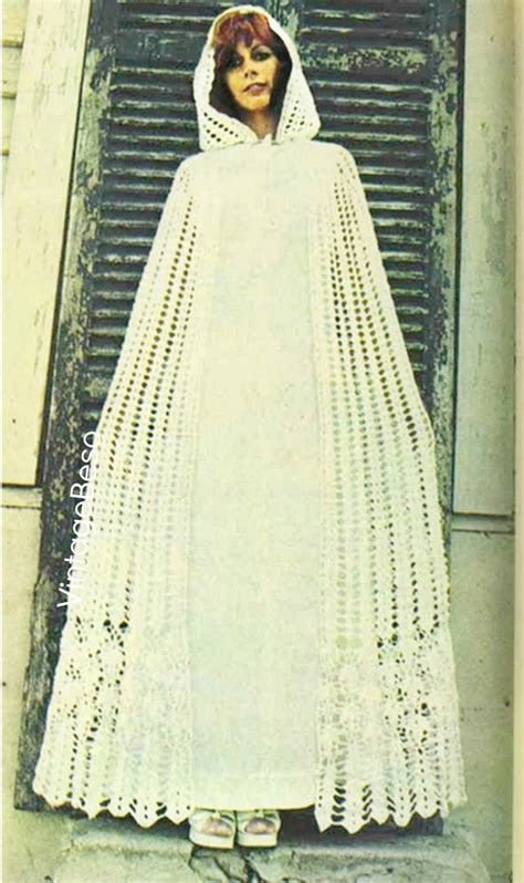 Free Curtain Crochet Patterns by Cloak Instant Download Pattern Pdf 1970s Vintage Hooded Cloak