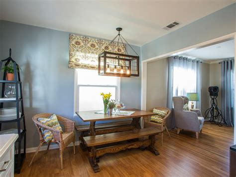 light blue dining room with industrial light fixture hgtv