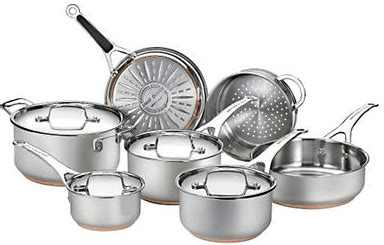 hudsons bay deals jamie oliver   fal  piece stainless steel copper cookware  sale