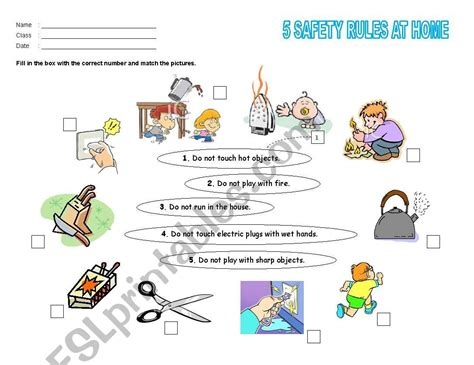 english worksheets safety rules  home
