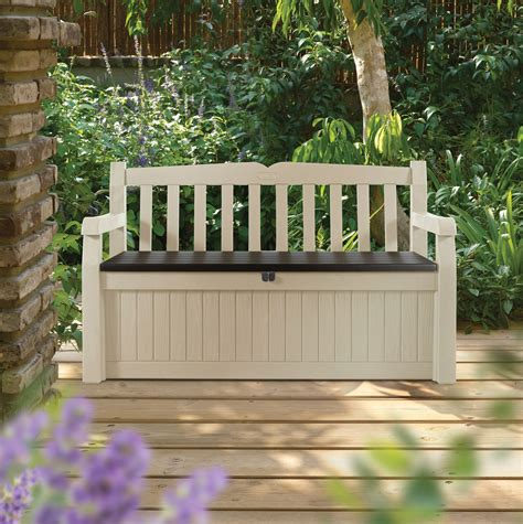 eden plastic garden storage bench departments diy  bq