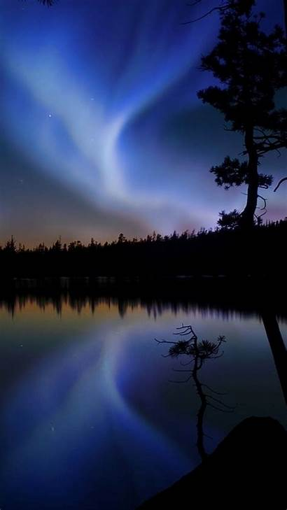 Sky Night Wallpapers Background Outlines Glow Lake