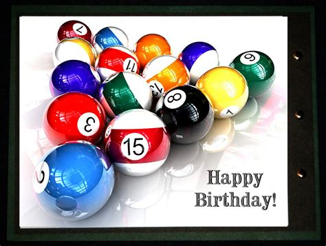 billiards balls birthday pool card