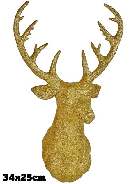 gold glitter stag head christmas xmas decoration wall