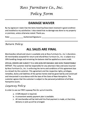 furniture delivery damage fill  printable fillable