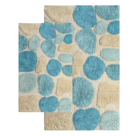 piece pebbles bath rug set  aquamarine uvcm