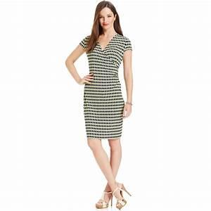 97bb03d4 lyst jones new york signature capsleeve printed fauxwrap dress in blue. lyst  jones new york sleeveless sheath ...