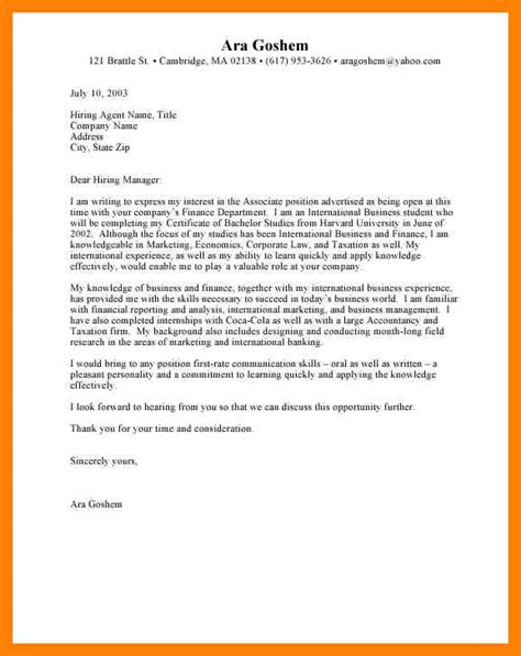 Fashion Internship Cover Letter Exles by 11 Sle Intern Cover Letter Writing A Memo