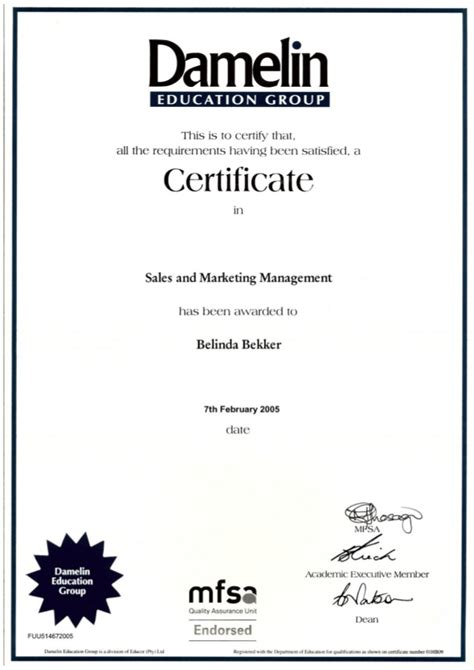 marketing certificate b bekker damelin sales marketing management certificate