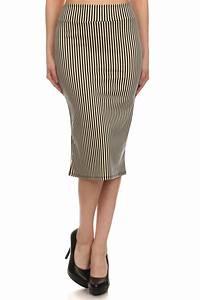 Striped Below Knee Pencil Skirt