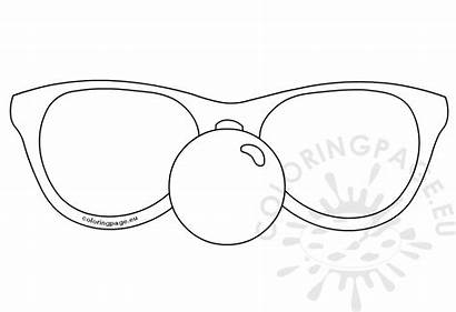 Nose Clown Template Glasses Carnival Coloring Booth