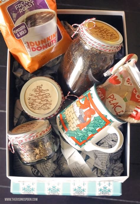 The tasty grinds and beans in our gift baskets are complemented by gourmet foods like biscotti, butter pretzels, belgian biscuits. DIY Coffee Lover's Gift Basket   The Rising Spoon