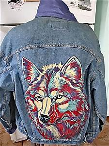 Vintage Leviu0026#39;s Denim Hand Painted Jacket-Wolf 1980u0026quot;s Signed from westcoastpickers on Ruby Lane