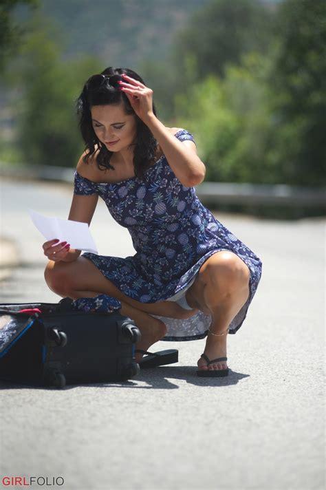 Brunette Chick Bonnie Belotti Inadvertently Flashes Her Upskirt Underwear