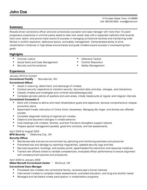 Correctional Officer Cover Letter by Correction Officer Resume Correctional Highlights Entry