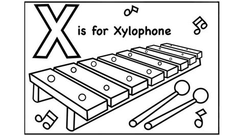 Coloring Xylophone by Xylophone Coloring Pages Alphabet X Drawing Pictures