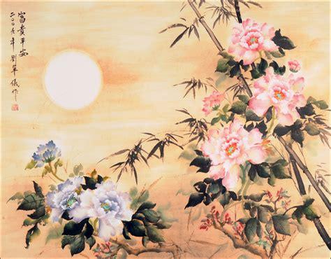 peinture chambre 2 couleurs la pivoine reine des fleurs chinoises couleurs